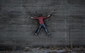 Обои фон, стена, человек, влип