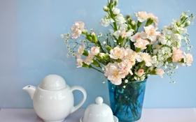 Обои чашка, голубой, цветы, белый, чайник