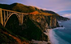 Картинка море, небо, мост, берег, гора
