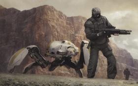 Обои боевой робот, Geoffroy Thoorens, Sentinels