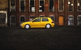 Обои желтый, volkswagen, профиль, гольф, golf, фольксваген, MK4