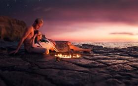 Картинка девушка, огонь, парень