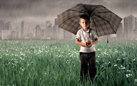 Обои грусть, дождь, зонт, мальчик
