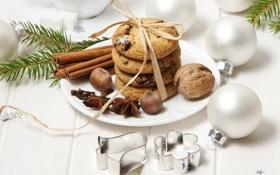 Картинка корица, ветки, шары, ёлочные игрушки, бадьян, орехи, печенье