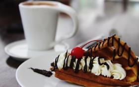 Картинка вишня, шоколад, сливки, десерт, вафл