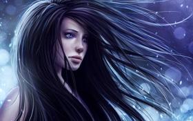 Обои волосы, снег, девушка