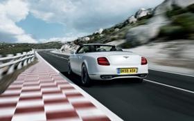 Картинка Bentley, Continental, Дорога, Белый, Машина, Кабриолет, В Движении