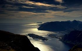 Картинка простор, высота, река, блеск, серебро, небо, облака