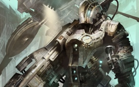 Картинка металл, оружие, корабль, арт, солдат, броня