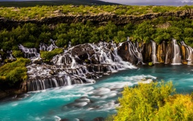 Картинка река, водопад, каскад, Исландия, Iceland, Hraunfossar, Хрёйнфоссар