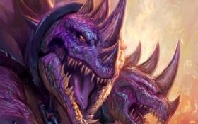 Обои дракон, зубы, арт, шипы, WoW, World of Warcraft, цепи