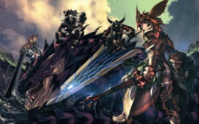 Обои аниме, обои, драконы, мечи