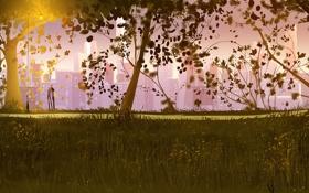 Картинка девушка, деревья, парк, романтика, вечер, арт, пара