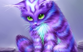 Обои существо, усики, котенок, арт, лапки, окрас, взгляд