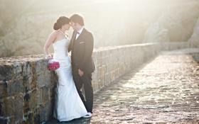 Обои настроение, букет, платье, невеста, свадьба, жених