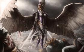 Картинка девушка, ангел, меч, войны, арт, поле брани