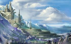 Обои королевство, город, горы, лес, облака
