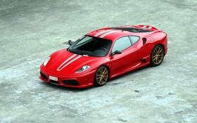 Обои красный, отражение, ferrari, f430, вид сверху, ф430, скудерия