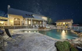 Картинка небо, звезды, ночь, огни, дом, интерьер, бассейн
