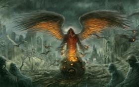 Обои огонь, Ангел, солдаты, руины, сфера, трупы