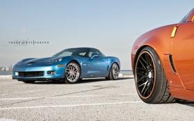 Обои оранжевый, голубой, Z06, Corvette, Chevrolet, шевроле, blue
