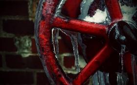 Картинка лёд, Стена, вентиль