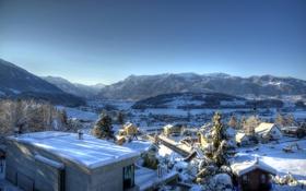 Картинка долина, Kaltbrunn, деревья, дома, зима, горы, снег