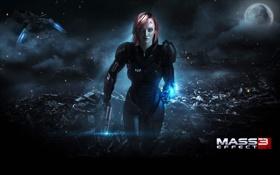 Обои будущее, женщина, игра, бежит, shepard, mass effect 3, шепард