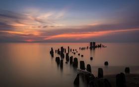 Картинка море, пейзаж, ночь, опоры