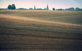 Обои деревья, холмы, церкви, башни, Homberger Wiesnasen, Дорфштрассе, поля