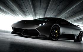 Обои чёрный, Lamborghini, матовый, black, ламборджини, Murcielago, LP670-4