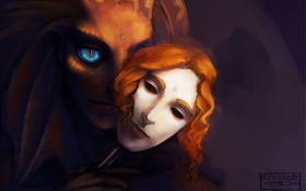 Обои взгляд, фантастика, существо, маска, арт, голубые глаза