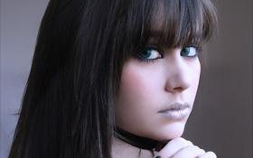 Обои глаза, зелёные, Beauty, тёмные волосы, карсотка