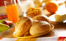 Обои breakfast, juice, bread products, bread