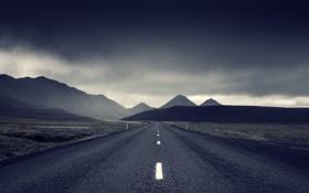 Обои дорога, гроза, поле, горы, серые облака