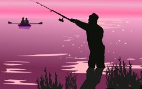 Обои природа, лодка, вектор, рыбак, силуэт, пара, удочка