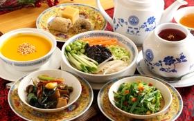 Обои чай, суп, посуда, овощи, японская кухня, блюда, ассорти