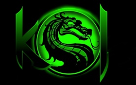 Обои арт, Mortal Kombat, зеленый, Dragon Logo, цвет