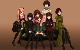 Обои радость, девушки, диван, аниме, арт, улыбки, aozaki aoko