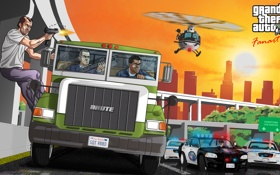Обои машина, полиция, фургон, майкл, франклин, Grand Theft Auto V, лос сантос