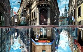 Картинка птицы, город, отражение, воздушный шар, праздник, Мальчик, зонт