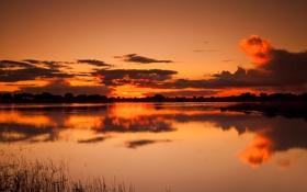 Обои небо, облака, закат, озеро