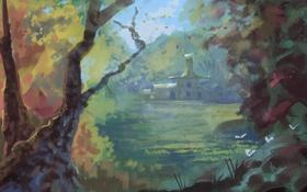 Обои деревья, цветы, дом, арт, нарисованный пейзаж