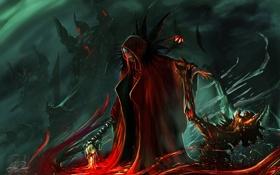 Обои магия, кровь, демон, арт, плащ, Randy Toroni, Mage of Death
