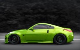 Обои green, тюнинг, скорость, nissan, 350z