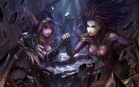 Обои камни, девушки, эльфийка, starcraft, chenbo, world of warcraft, арт