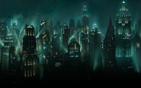 Картинка рыбы, город, огни, небоскребы, вывески, BioShock, подводный