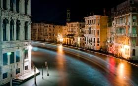 Картинка ночь, город, огни, река, colors, Италия, Венеция