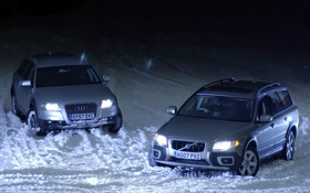 Обои снег, Audi, Ауди, Volvo, Вольво, Allroad, передок