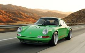 Картинка дорога, пейзаж, зеленый, 911, porsche, классика, путешествие
